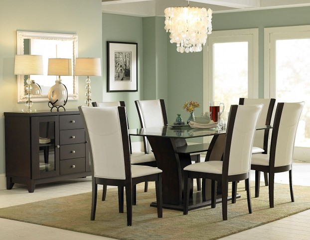 Daisy Brown Glass Top Dining Room Set