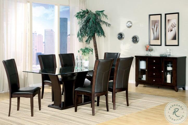 Daisy Espresso Glass Top Dining Room Set