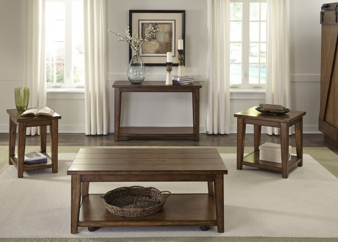 Lancaster II Antique Brown Occasional Table Set