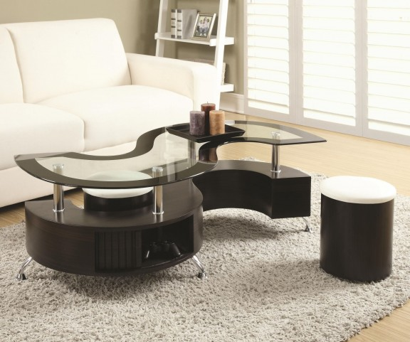 720218 Dark Brown Coffee Table and Stools