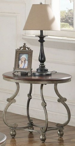 Cherry Brown and Antique Pewter End Table