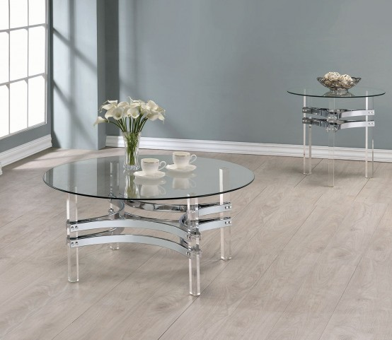 Chrome and Clear Acrylic Round Occasional Table Set