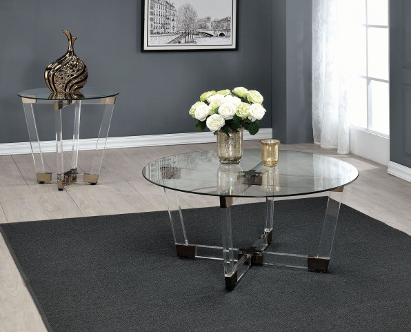 Chocolate Chrome and Clear Acrylic Occasional Table Set