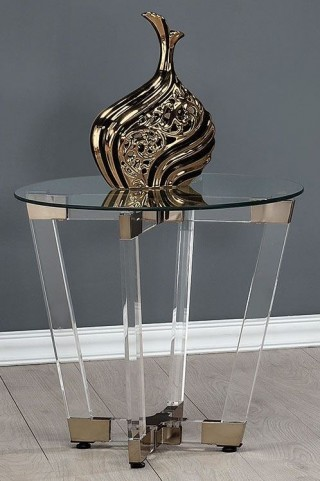 Chocolate Chrome and Clear Acrylic End Table