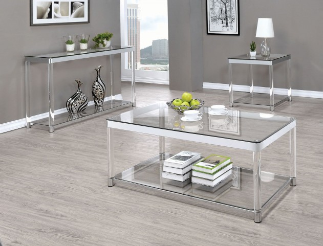 Chrome and Clear Acrylic Rectangular Occasional Table Set
