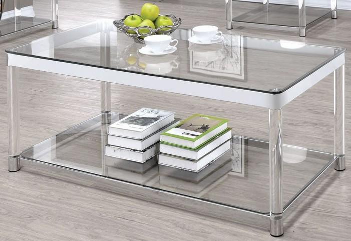 Chrome and Clear Acrylic Rectangular Coffee Table