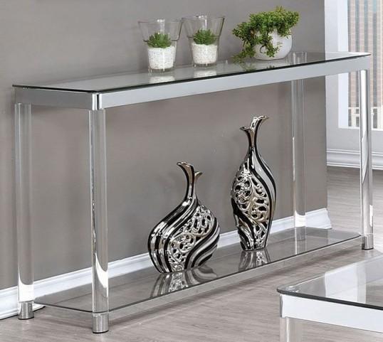 Chrome and Clear Acrylic Sofa Table