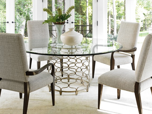 """Laurel Canyon Round 54"""" Silver Leaf Glass Round Dining Room Set"""