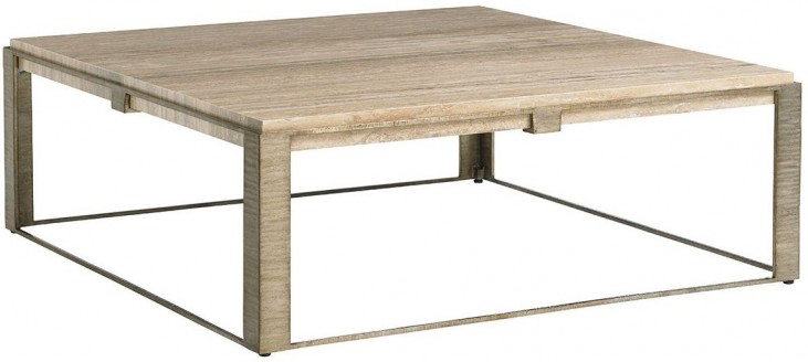 Laurel Canyon Stone Canyon Silver Leaf Square Cocktail Table