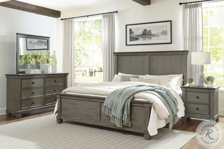 Weaver Coffee And Antique Gray Queen Panel Bed