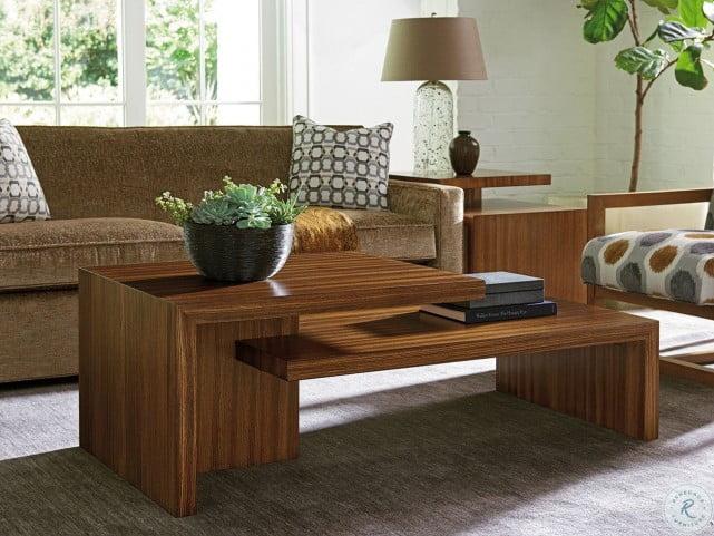 Kitano Rich Brown Hazelnut Cascade Rectangular Occasional Table Set