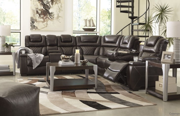 Warnerton Chocolate Large Power Reclining Sectional