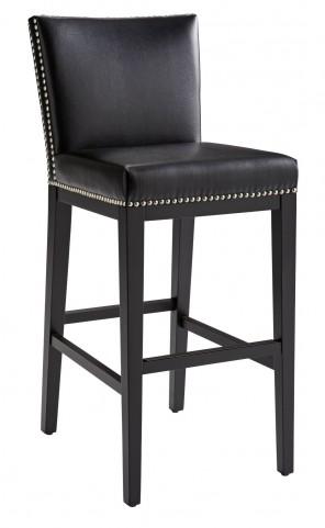 Vintage Black Leather Barstool