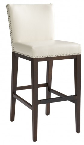 Vintage Cream Leather Barstool