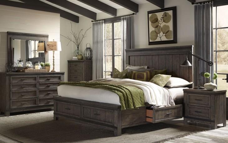 Thornwood Hills Rock Beaten Gray Two Sided Panel Storage Bedroom Set