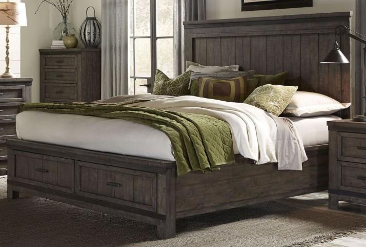Thornwood Hills Rock Beaten Gray King Panel Footboard Storage Bed