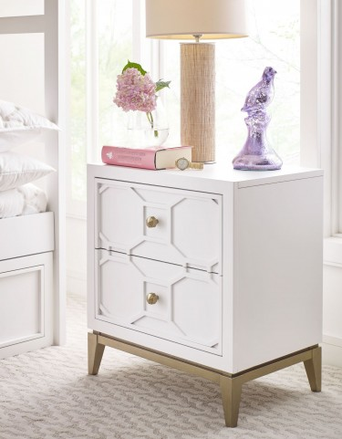 Uptown White and Gold Nightstand by Rachael Ray