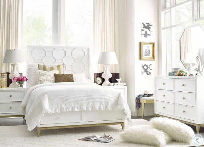 Uptown White And Gold Youth Panel Bedroom Set From Rachael Ray Home Coleman Furniture