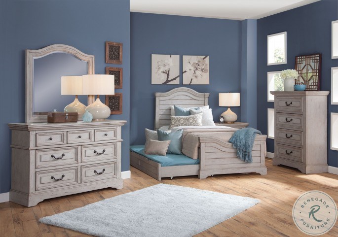 Stonebrook Light Distressed Antique Gray Youth Panel Bedroom Set with Trundle