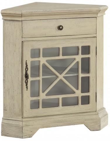 Milestone Textured Ivory One Drawer Corner Cabinet