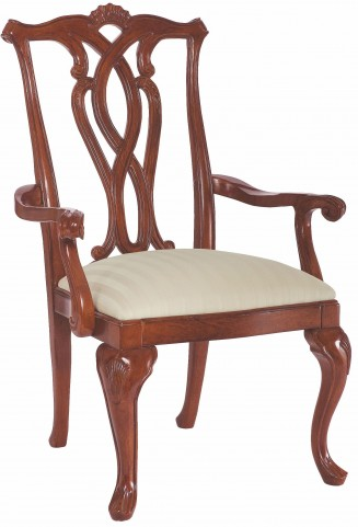 Cherry Grove Classic Antique Cherry Pierced Back Arm Chair Set of 2