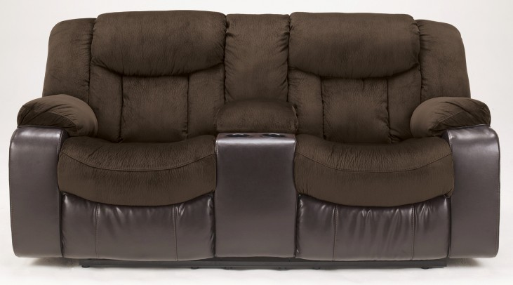 Tafton Java Double Reclining Loveseat with Console