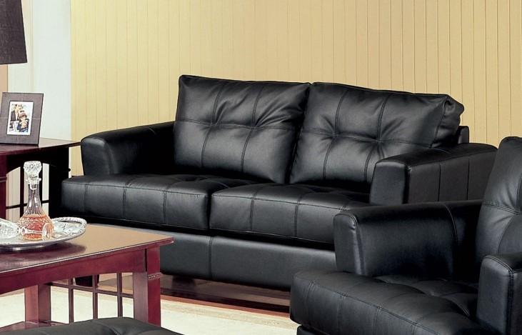 Samuel Black Leather Loveseat - 501682