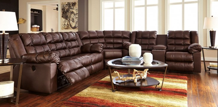 Brolayne DuraBlend Brown Reclining Sectional