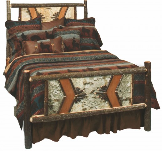 Hickory King Adirondack Bed With Hickory Rails