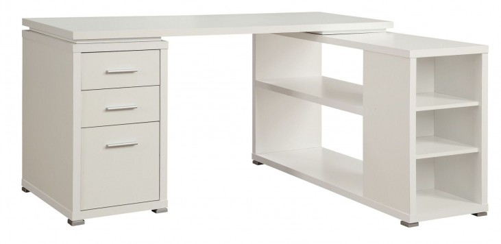 Yvette White L-Shape Desk