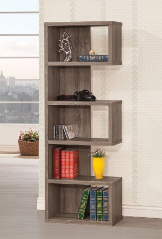 800552 Weathered Grey Right Bookshelf