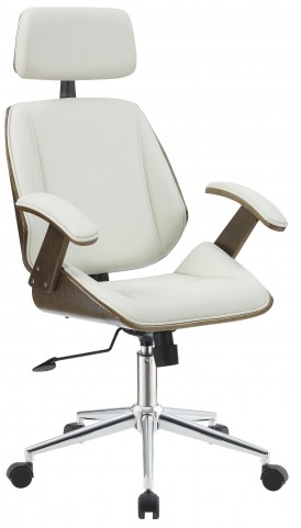 Ecru Leatherette Tall Office Chair