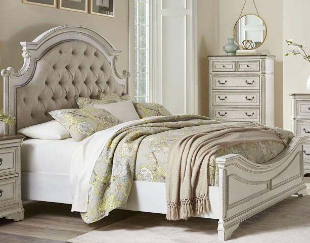 Stevenson Manor Distressed White King Upholstered Panel
