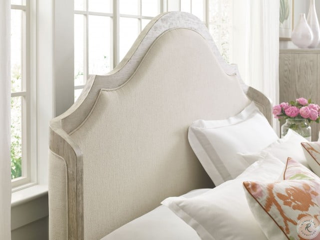 Vista Haven Oyster Queen Upholstered Shelter Panel Bed