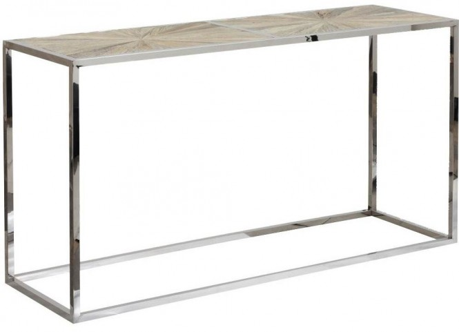 Bella Antique Stainless Steel Parquet Console Table