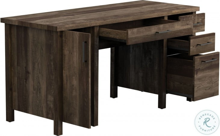 Tolar Rustic Oak Office Desk From Coaster Coleman Furniture