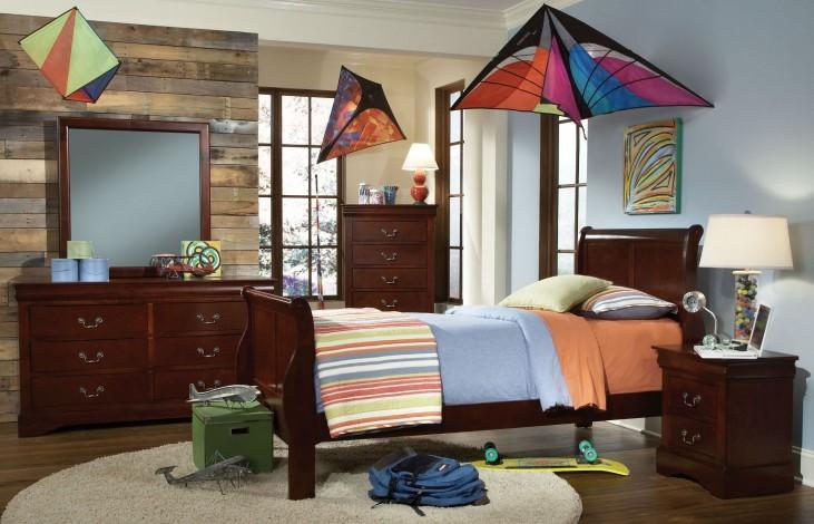 Lewiston Deep Brown Youth Sleigh Bedroom Set