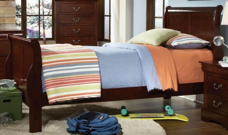 Lewiston Deep Brown Twin Sleigh Bed