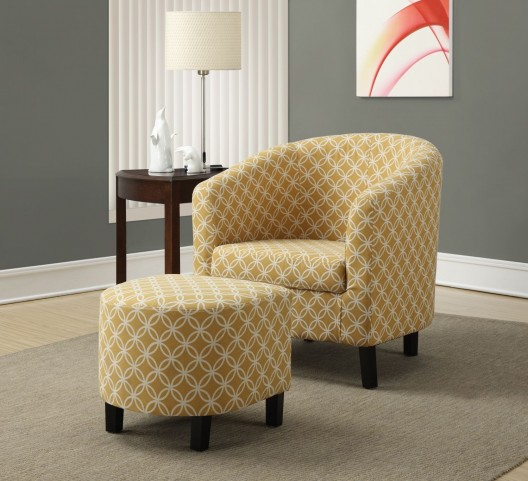 Burnt Yellow Circular Fabric Accent Chair with Ottoman