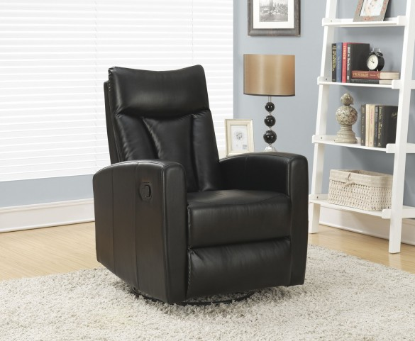 Black Padded Back Swivel Glider Recliner