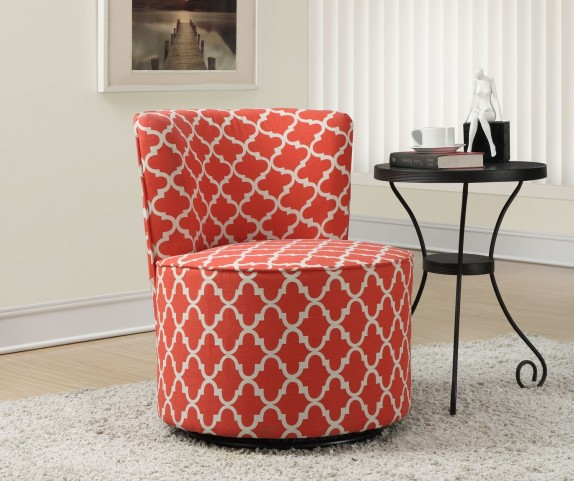 Coral Lantern Fabric Swivel Accent Chair