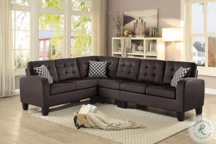 Sinclair Chocolate Reversible LAF Sectional