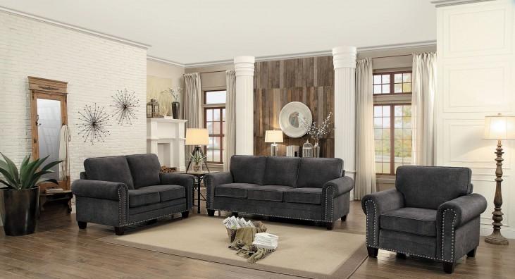 892 The Paradigm Living Room Set Grey: Cornelia Dark Grey Living Room Set From Homelegance