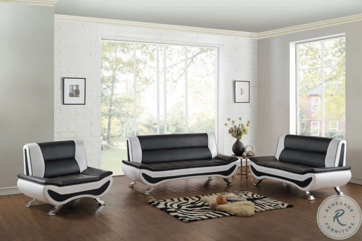 Veloce Black and Ivory Living Room Set