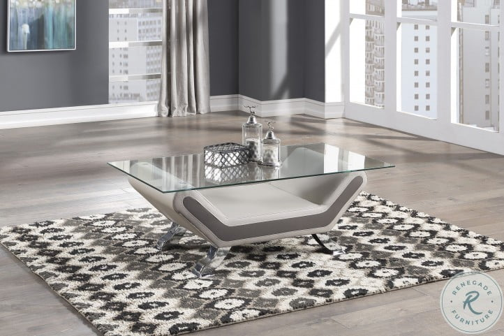 Veloce Beige And Gray Cocktail Table