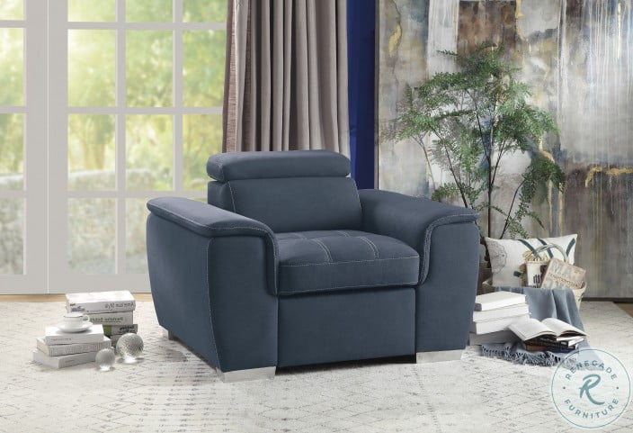 Ferriday Blue Chair With Pull Out Ottoman