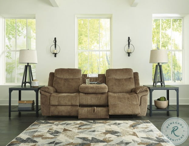 Huddle Up Nutmeg Reclining Sofa With Drop Down Table