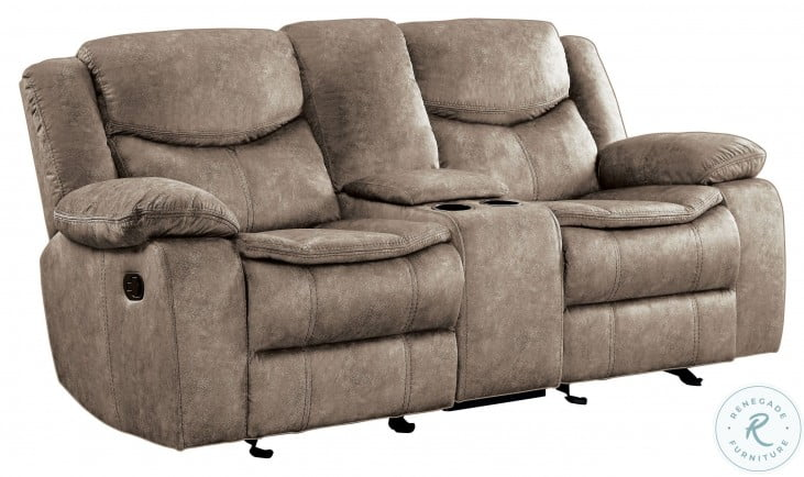 Bastrop Brown Double Glider Reclining Loveseat With Console