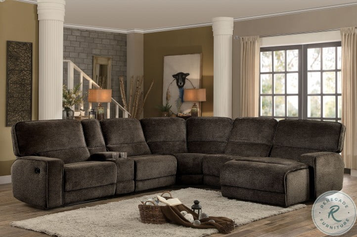 Shreveport Brown 6 Piece RAF Chaise Sectional