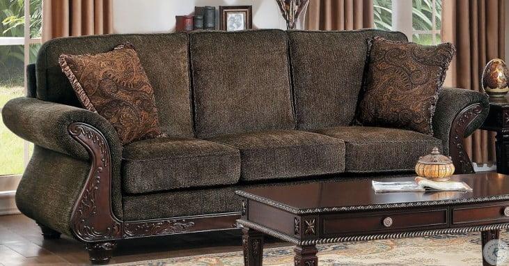 Mandeville Brown Chenille Sofa